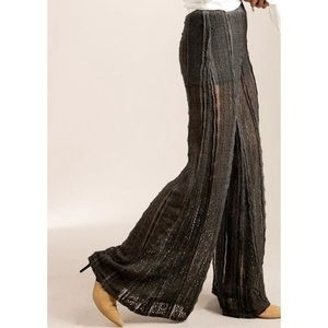 POL Wide Leg Lace Palazzo Festival Pants in Gray